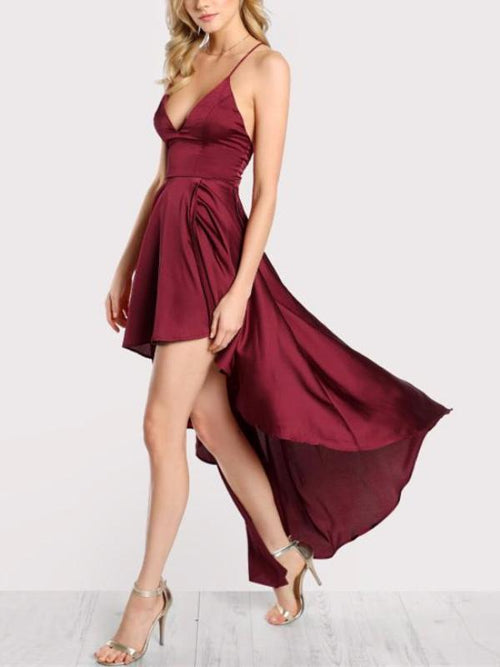 Red Satin Asymmetrical Dress