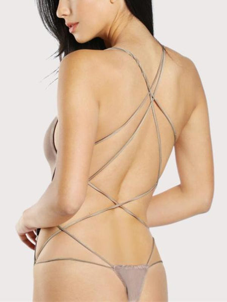 Taupe Criss Cross Bodysuit