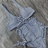 Lace Up Stripe Bikini