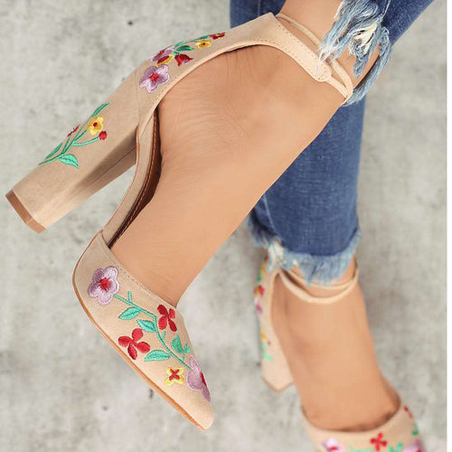 Faux Suede Embroidery Pumps