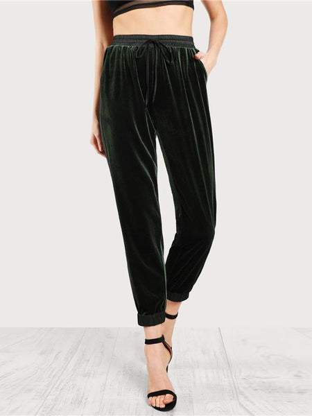 Deep Green Velvet Pants