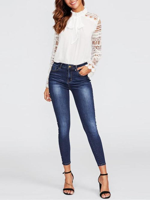 Pearl Beaded Denim Jeans