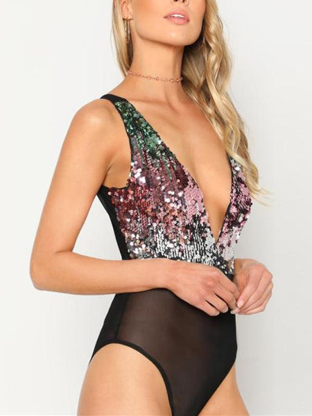 Multicolor Sparkly Sequin Bodysuit