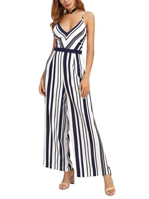 Black White Striped Jumpsuit