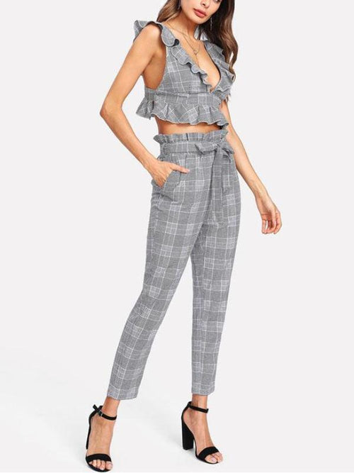 Plaid & Ruffles Pants Set