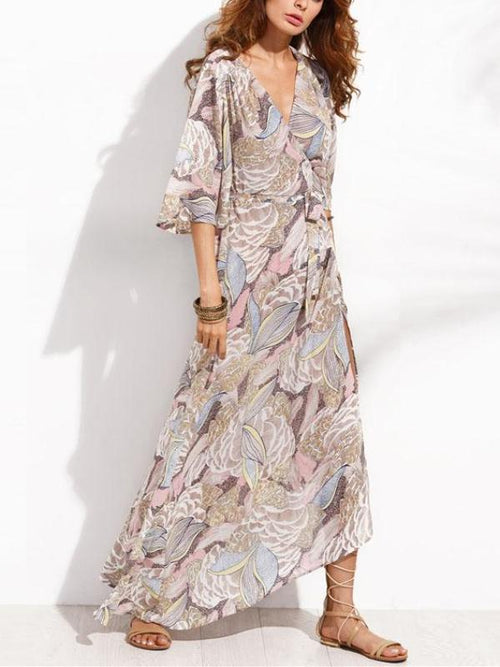 Pastel Leaves Maxi Dress