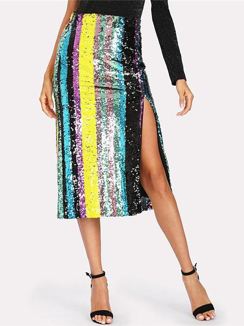 Block Striped Sequin Skirt