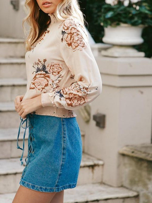 Spring Floral Turtleneck Blouse