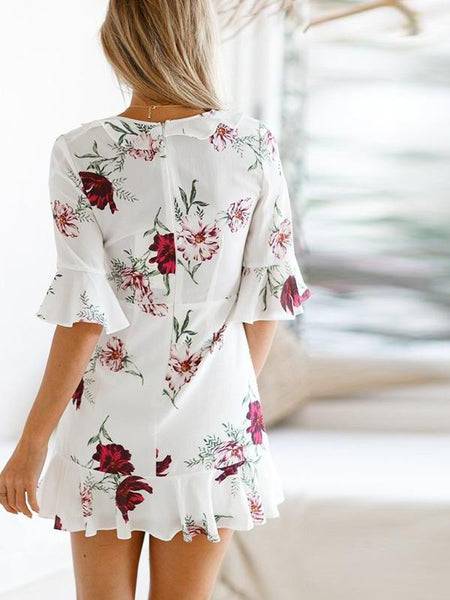 White Floral Ruffles Mini Dress