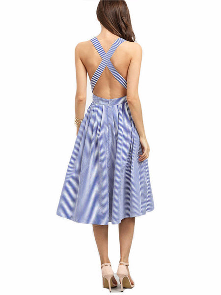 Blue Striped Cross Back Dress