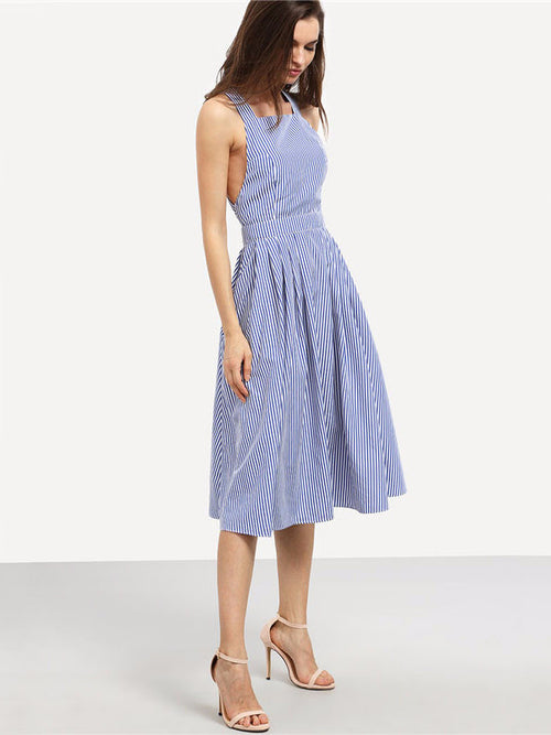 Blue Striped Cross Back Flare Dress