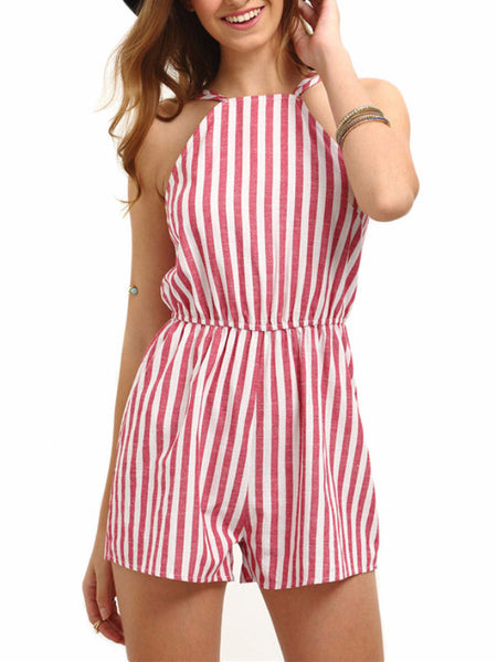Beach Stripe Backless Romper