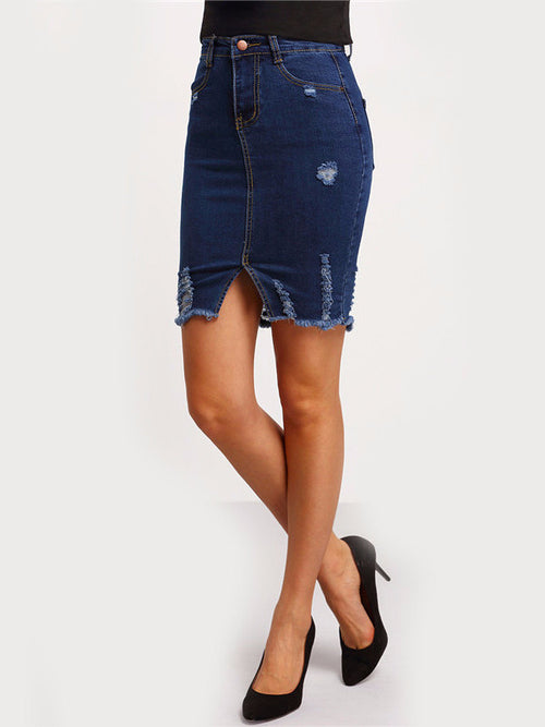 Front Split Pencil Denim Skirt