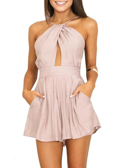Satin Halter Peekaboo Playsuit