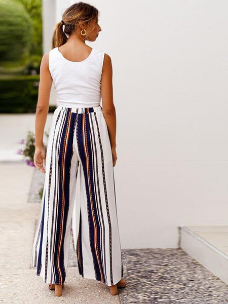 Stripe Long Split Pants