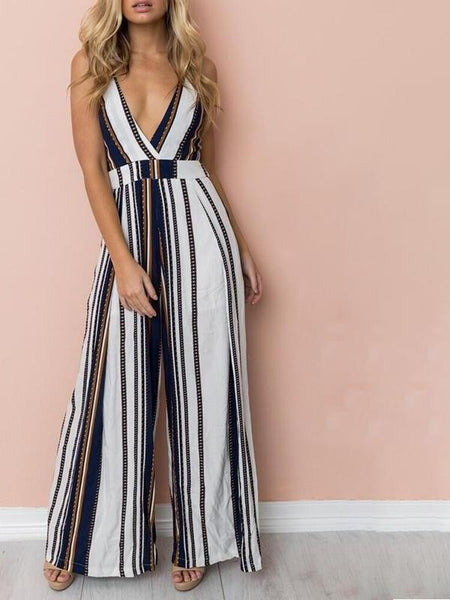 Striped Tie Back Retro Jumpsuit
