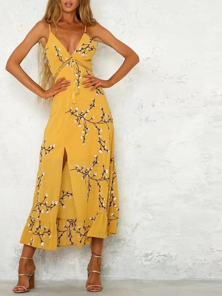 Dandelion Embroidery Maxi Dress