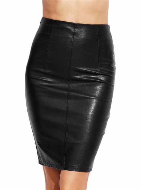 PU Leather Bodycon Skirt