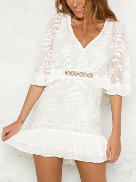 Embroidered Fern Ruffle Dress