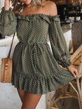 Off Shoulder Polka Mini Dress