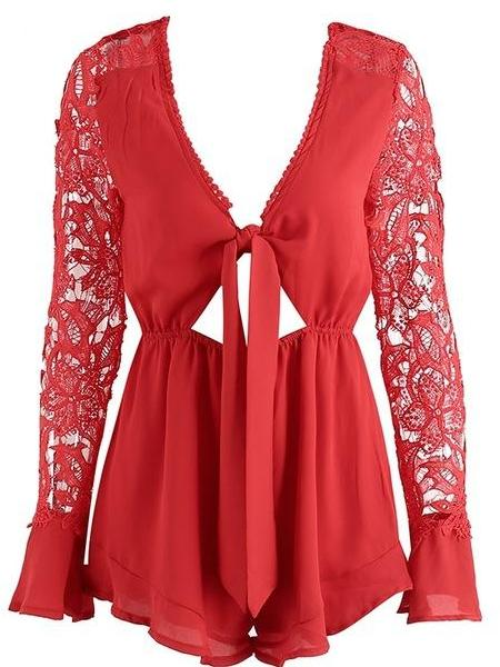 Lace Sleeve Knotty Playsuit