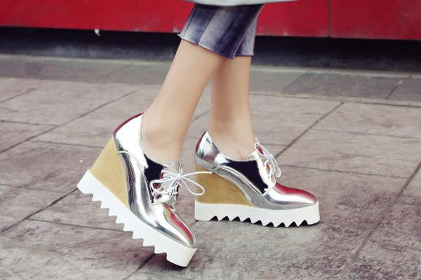 Shiny Patent Oxford Wedges