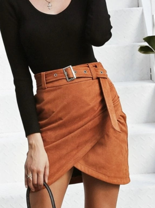 Belted Faux Suede Drape Skirt