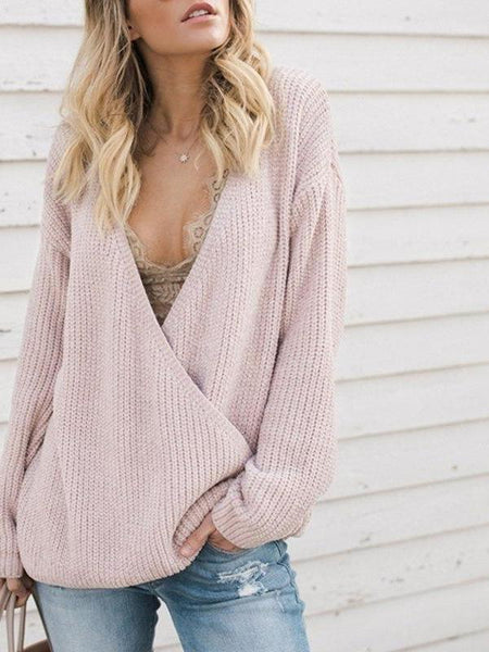 Deep V Pink Knit Sweater