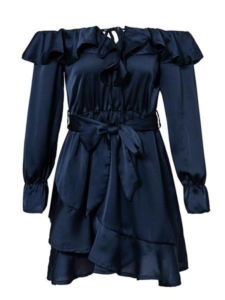 Off Shoulder Ruffle Satin Dress