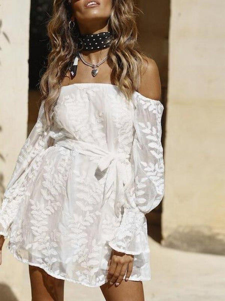 Off Shoulder Embroidery Dress