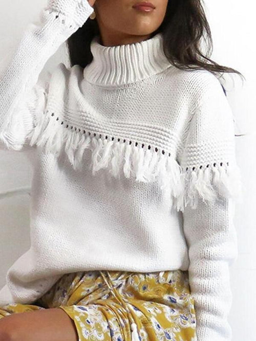 White Tassel Native Sweater