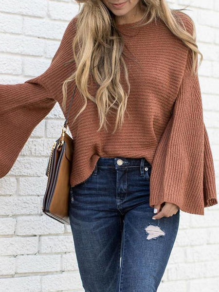 Brick Red Flare Sleeve Sweater