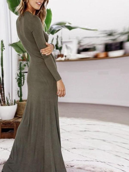 Faux Button up Maxi Dress