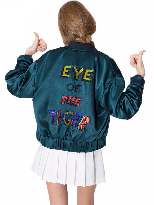 Sequined Letter Bomber Jacket