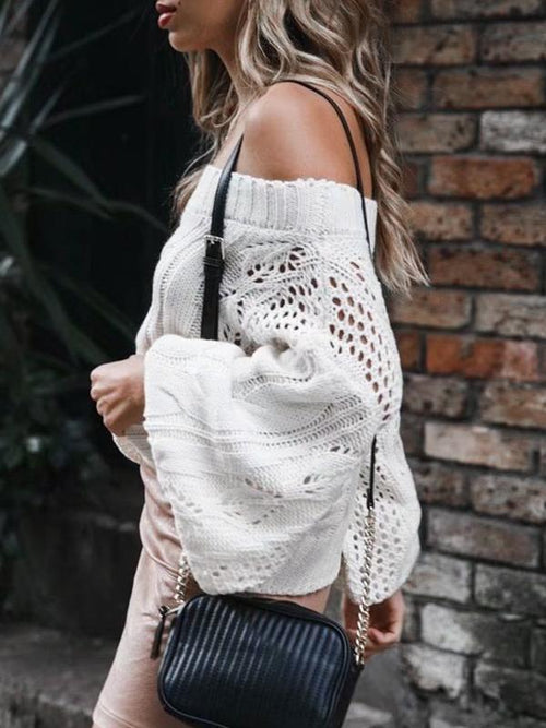 Lantern Sleeve Shoulderless Sweater