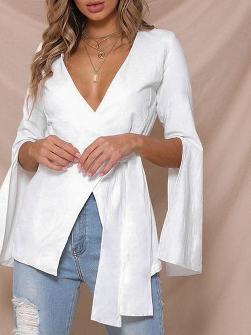 Split Sleeve Wrap Blouse