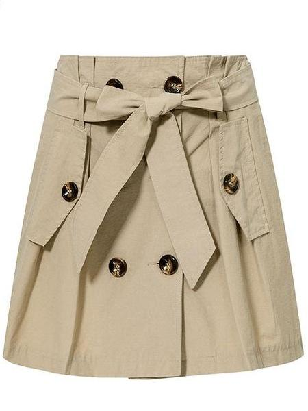 Khaki Trench Skirt
