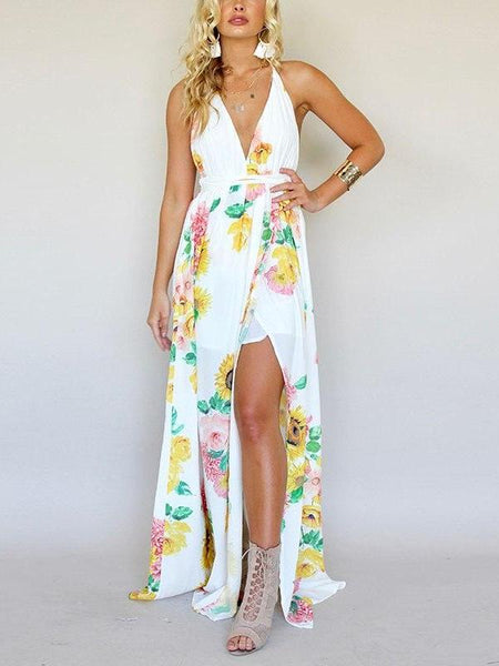 Sunflower Backless Maxi Dress