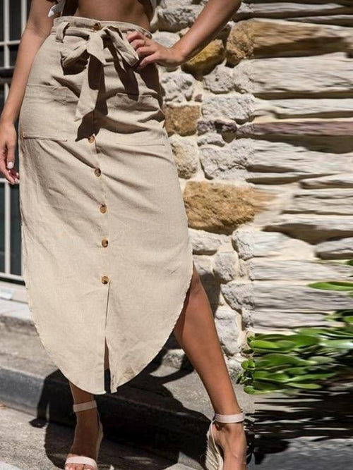 Linen Button Up Midi Skirt