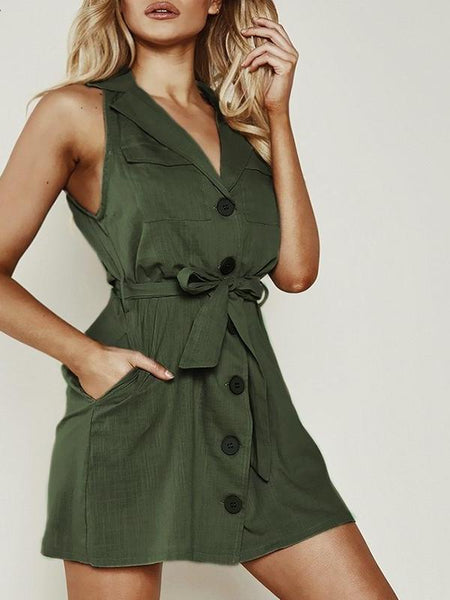 Linen Button Trench Dress