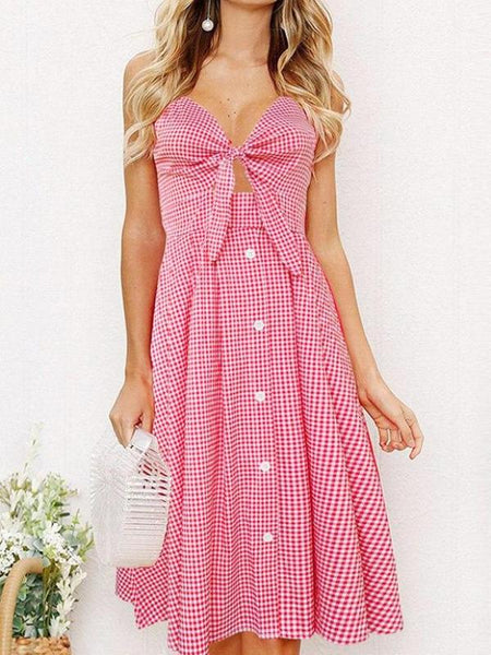 Gingham Picnic Button Dress