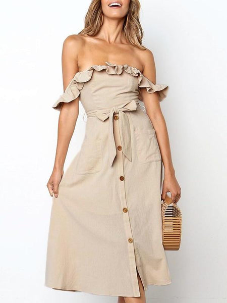 Ruffi Off Shoulder Midi Dress