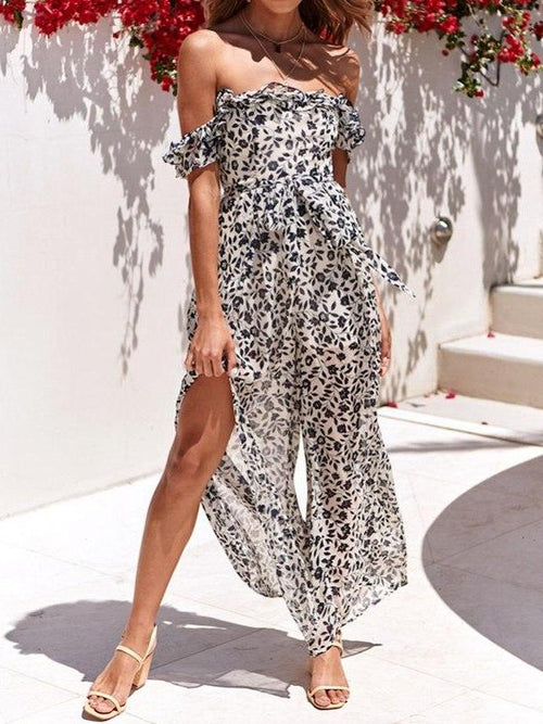 Off Shoulder Ruffle Split Jumpsuit