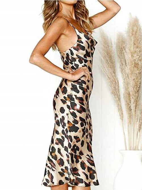Satin Wild Leopard Dress