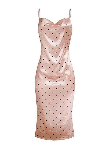Satin Polka Slip Dress