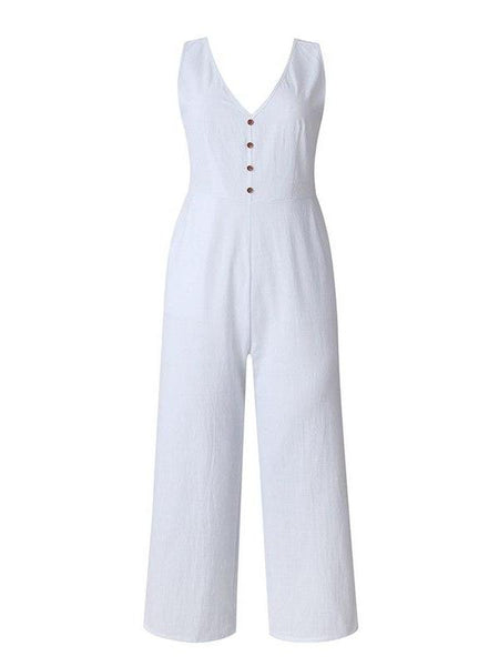 Linen Faux Button Jumpsuit