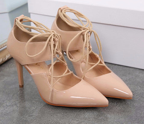 Patent Pointy Lace Up Pumps