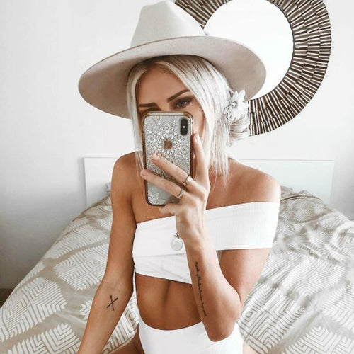 Off Shoulder Asymmetric Bikini