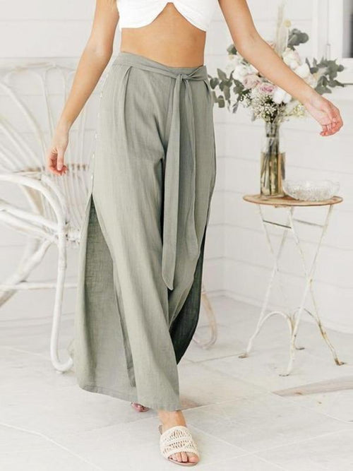 Button Split Summer Pants