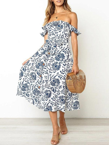 Off Shoulder Damask Midi Dress